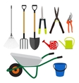 Garden Tools Instruments Flat Icon Collection Set vector image vector image