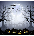 Halloween graveyard and pumpkins in foggy forest vector image vector image