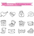 Hand draw of valentine day icons collection vector image vector image