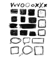 hand drawn black squares and rectangles vector image