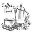 hand drawn coffee time cup of vector image vector image