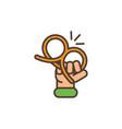 hand with pretzel oktoberfest icon line filled vector image