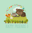 happy friends in the forest bearfoxrabbit wolf vector image vector image