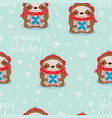 happy holidays pattern with sloth vector image vector image