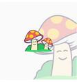 happy mushroom mascot and character design vector image