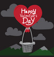happy valentines day with heart air balloon vector image