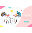 inbound vs outbound marketing isometric vector image vector image