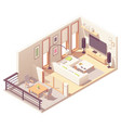 isometric living room with balcony vector image