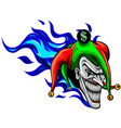 laughing angry joker character joker head face vector image