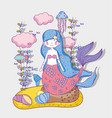 mermaid woman with jellyfish and clouds with vector image vector image
