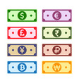 money paper notes collection vector image