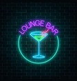 neon lounge cocktails bar sign on dark brick wall vector image