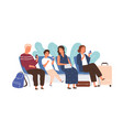 passengers sitting with baggage at airport lounge vector image vector image