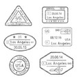 passport stamps arrival to los angeles usa vector image vector image