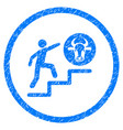 person climbing to cow rounded grainy icon vector image vector image