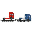 Red truck on a semitrailer vector image