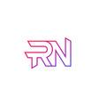 rn letters logo line design vector image