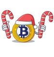 santa with candy bitcoin gold character cartoon vector image vector image