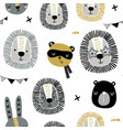 seamless childish pattern with stylish monochrome vector image
