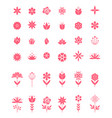 set flat icon flower icons in silhouette vector image vector image
