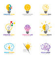 set light bulb logo energy and idea symbol vector image vector image