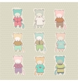 Set of cute cartoon cats dressed vector image