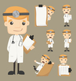 Set of doctor with notepad vector image vector image