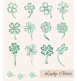 set of lucky clovers vector image