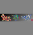 set of three paisley flower design isolated on a vector image vector image