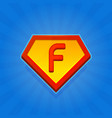 superhero logo icon with letter f on blue vector image vector image