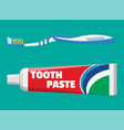 toothbrush toothpaste in tube vector image vector image