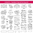 valentines day calligraphic set vector image