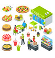 vegetarian healthy cafe isometric set vector image