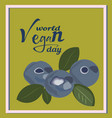 world vegan day posterblueberry 1 novemberworld vector image vector image