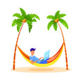 young man freelancer typing laptop at beach vector image vector image