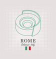 schematic drawing of the coliseum and italian flag vector image