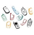 Modern and retro mobile phones icons vector image