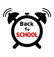 alarm clock icon with back to school text flat vector image vector image