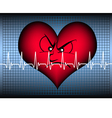 angry looking heart with cardio line vector image