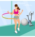 Beautiful woman exercising with hula hoop in the vector image