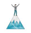 businessman celebration on mountain success vector image vector image