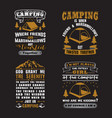 camping quote and saying set vector image vector image