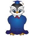 Cartoon bird in a square academic cap 2 vector image