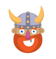 cartoon head of a viking vector image vector image
