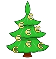 Christmas tree with euro signs vector image
