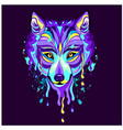 colorful wolf heads are very beautiful wall stick vector image vector image