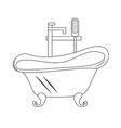 contour vintage bathtub on white background vector image vector image