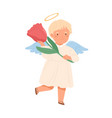 cute happy angel in dress with nimbus and wings vector image vector image