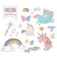 cute magic collection with unicon rainbow fairy vector image vector image