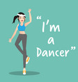 dancer character on green background flat design vector image vector image